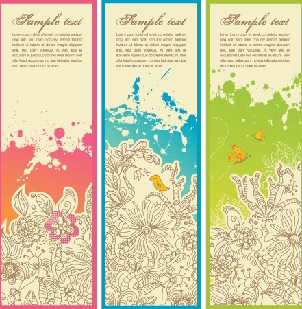 flower banner sets colored retro grunge style