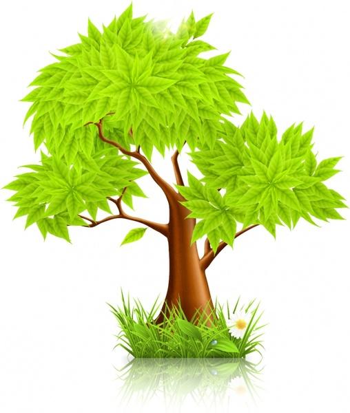 green tree icon modern colored bright design