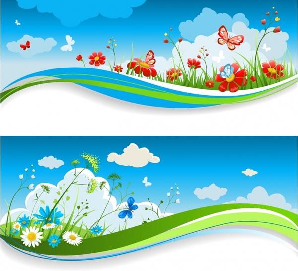 spring backgrounds colorful dynamic flora decor horizontal design