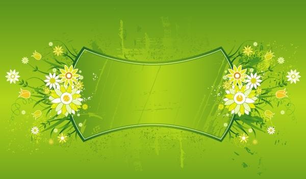 decorative background flowers frame ornament green design