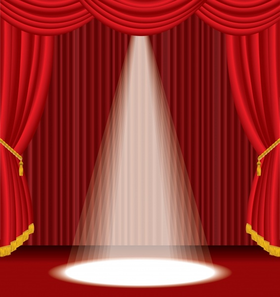 stage background elegant brilliant red curtain spotlight decor