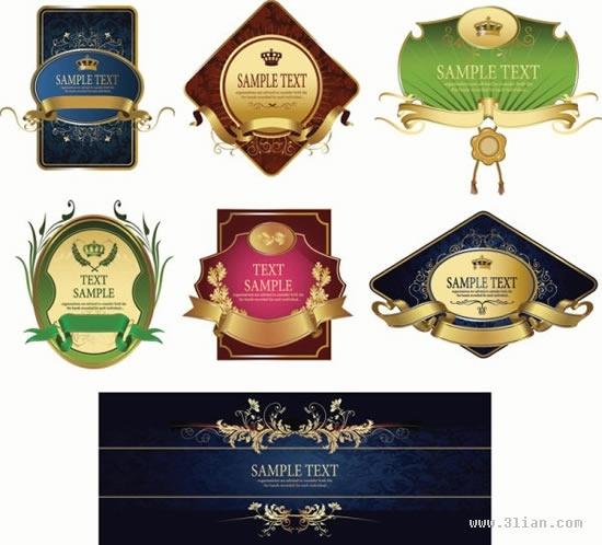 label templates colored elegant design symmetric ribbon decor
