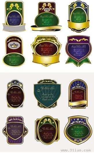 labels templates collection colorful elegant vintage design