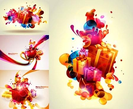 Colorful Christmas Background Design.Christmas Background Design Colorful Gift Boxes Decoration