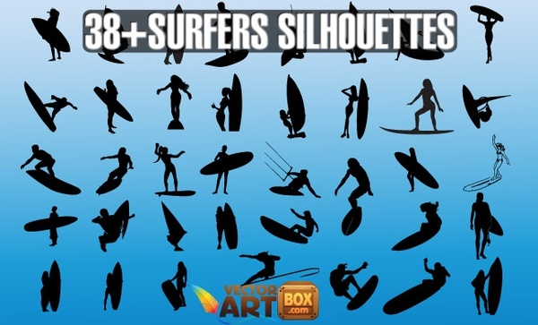 Vector Surfers Silhouettes Free Vector In Adobe Illustrator
