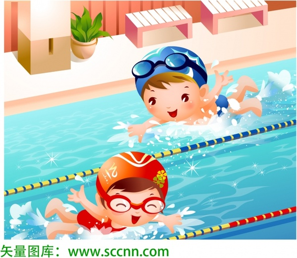 Vector swimming free vector in adobe illustrator ai ai for Pool design graphic