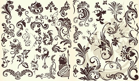 floral pattern design elements classical curves style