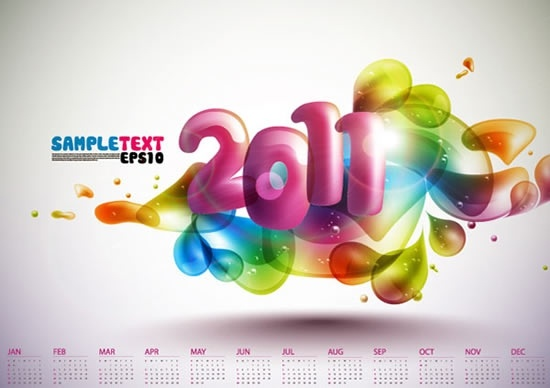 2011 calendar template colorful dynamic deformed bubbles decor