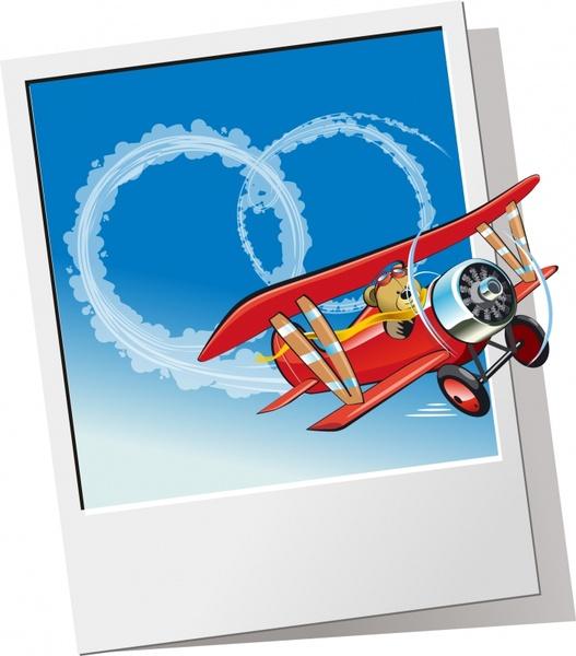 airplane background teddy bear icon 3d cartoon design