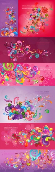 vector trend of colorful case series purple 7p