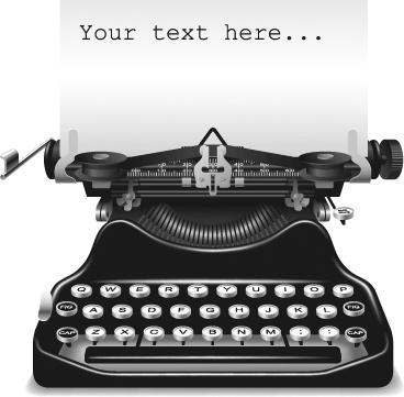 banner design vintage typewriter icon realistic style