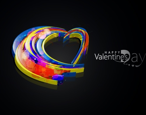 valentine banner twinkling colorful heart shape 3d dynamic