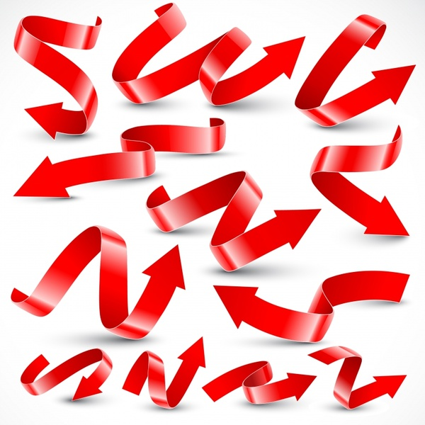 arrow ribbon templates shiny red 3d curves decor