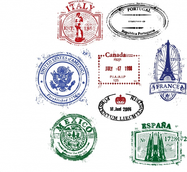 nations stamps templates colored vintage grungy design