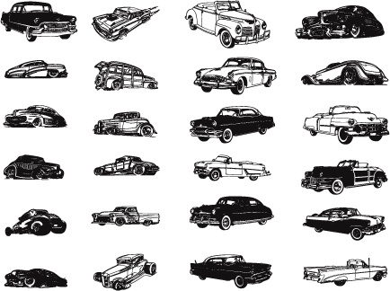 various vintage cars icons collection silhouette style