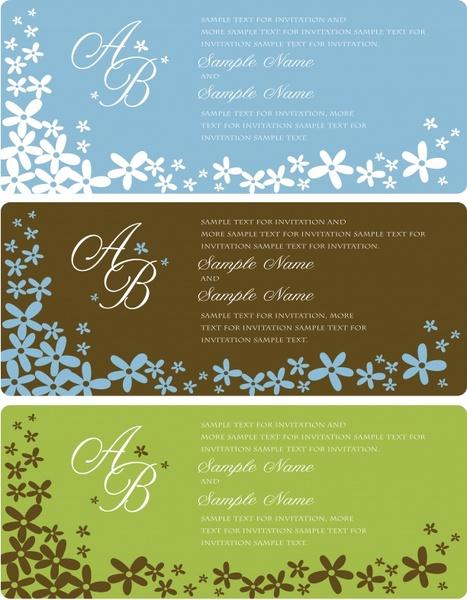 wedding card templates simple petals decor
