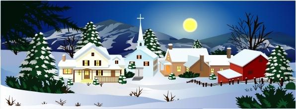 winter landscape background classical colored cartoon design