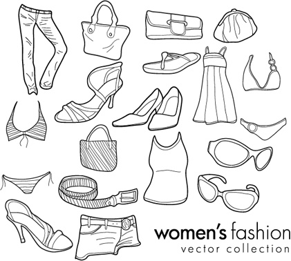 womens fashion icons collection black and white sketch