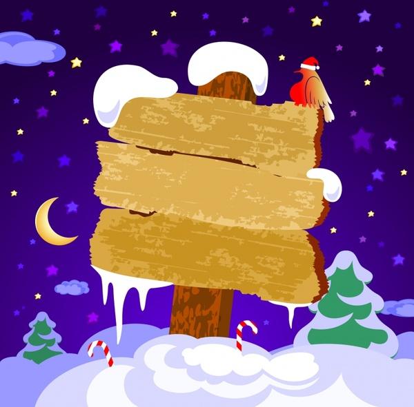 christmas banner template snow scene cartoon sketch