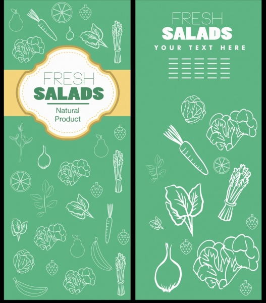 vegetable leaflet template green design white icons sketch