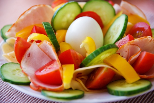 vegetable plate with ham