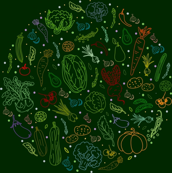 vegetables background colorful handdrawn sketch circle layout