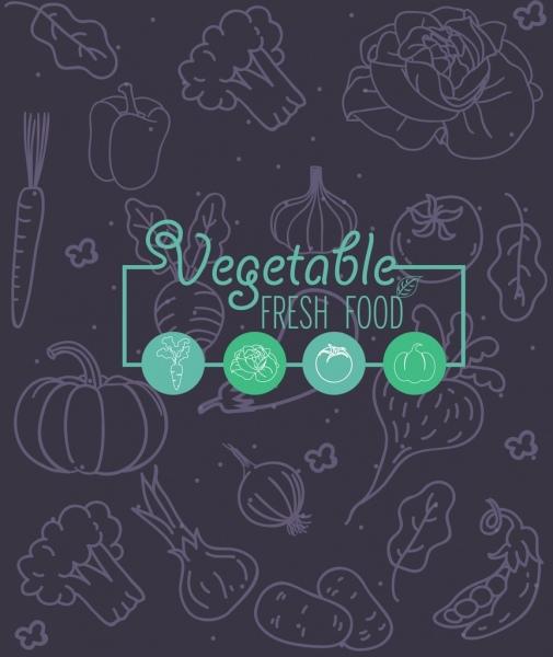 vegetables background dark handdrawn sketch