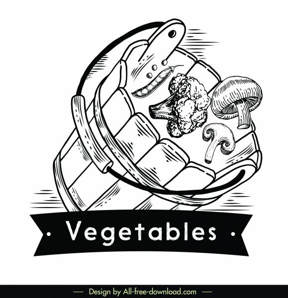 vegetables logotype motion design retro 3d sketch