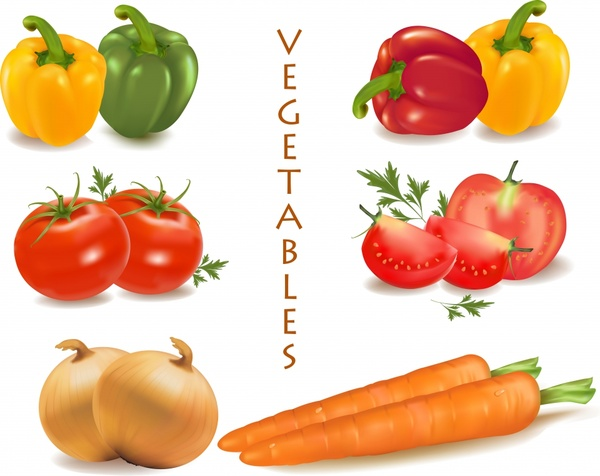 fresh vegetable banner colorful 3d icons decor