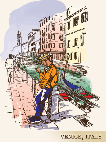 venice italy hand drawn town background vector