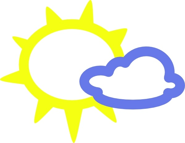 Very Light Clouds And Sun Weather Symbols Clip Art Free Vector In