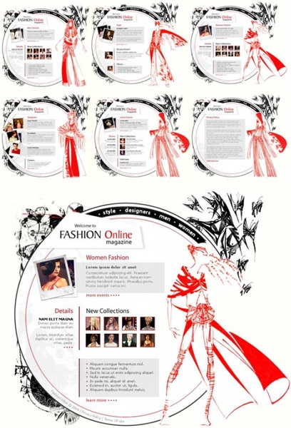 very taste of european and american clothing art design page templates