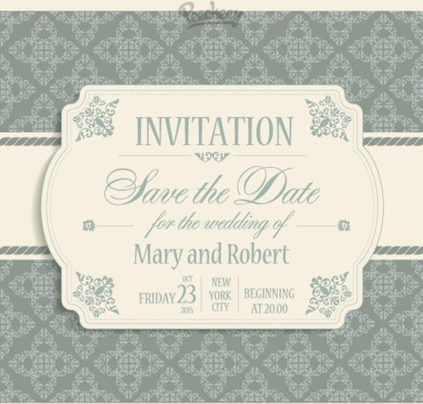 victorian style wedding invitation free vector in adobe illustrator