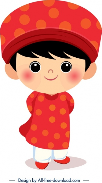 vietnam traditional clothes template cute boy cartoon character free