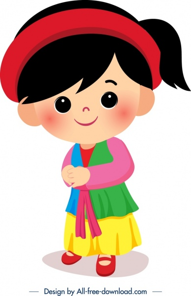vietnam traditional dress template cute girl icon sketch