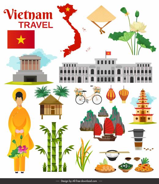 vietnam travel banner national symbols sketch colorful decor