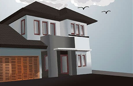 House painting colored modern 3d sketch Free vector in Coreldraw cdr