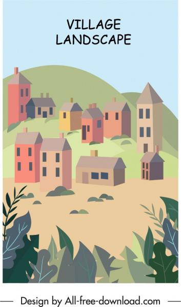 village landscape painting colorful classic decor houses sketch