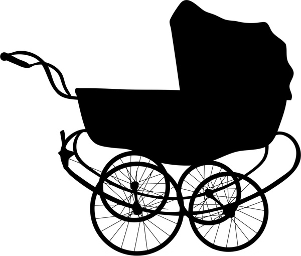 vintage baby carriage illustration with silhouette style free vector