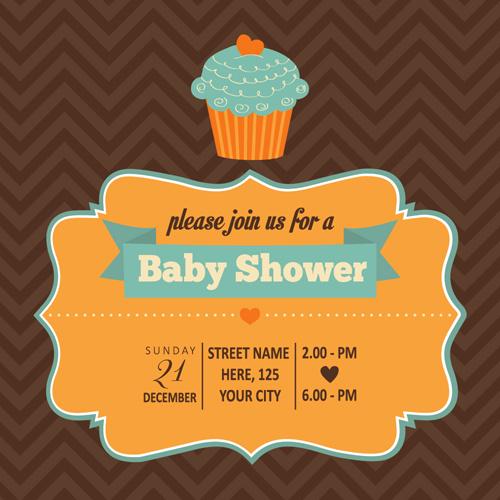 vintage baby shower invitation cards vector