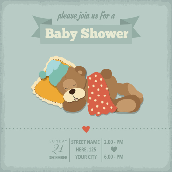 Vintage Baby Shower Invitation Cards Vector Free Vector In
