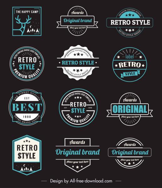 vintage badge templates colored dark flat shapes