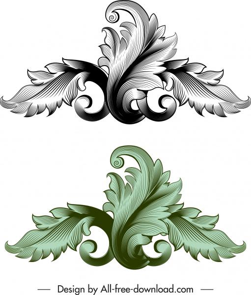 vintage baroque template elegant 3d leaf sketch