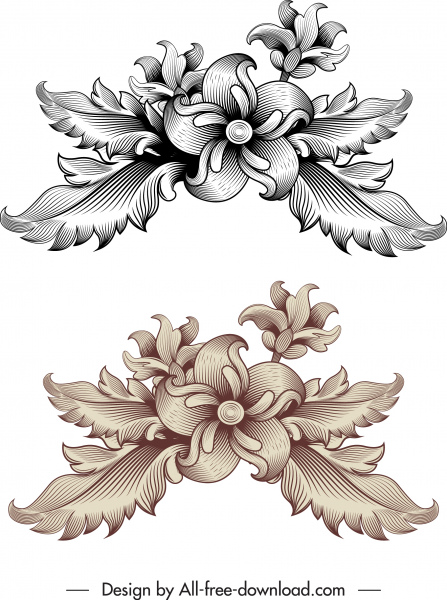 vintage baroque template elegant classical flower sketch