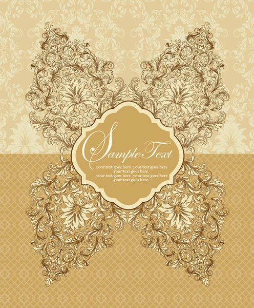 vintage beige floral background vector