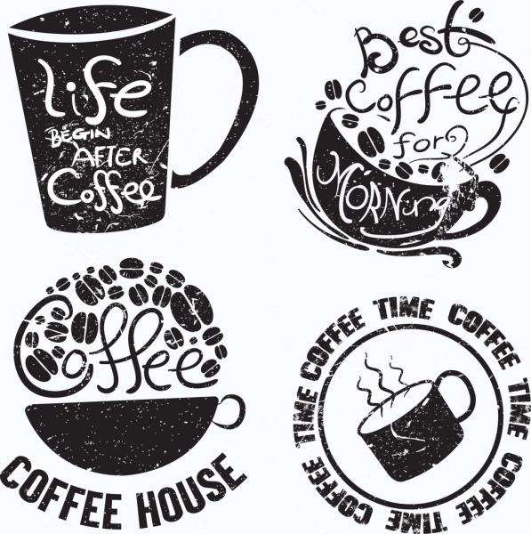 vintage coffee logotypes cup icon texts decor
