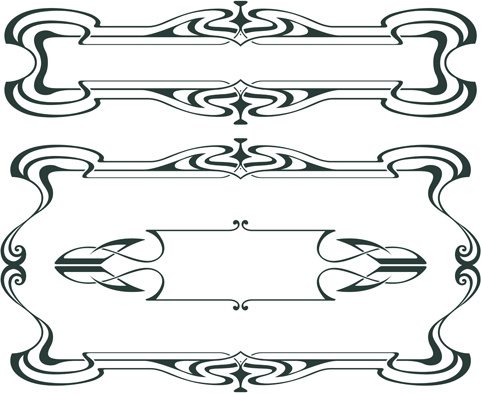 vintage decor borders with frames design vector