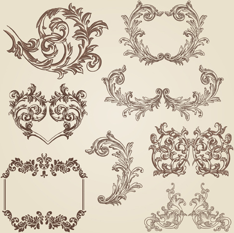 vintage decorative borders and frames with corners vector