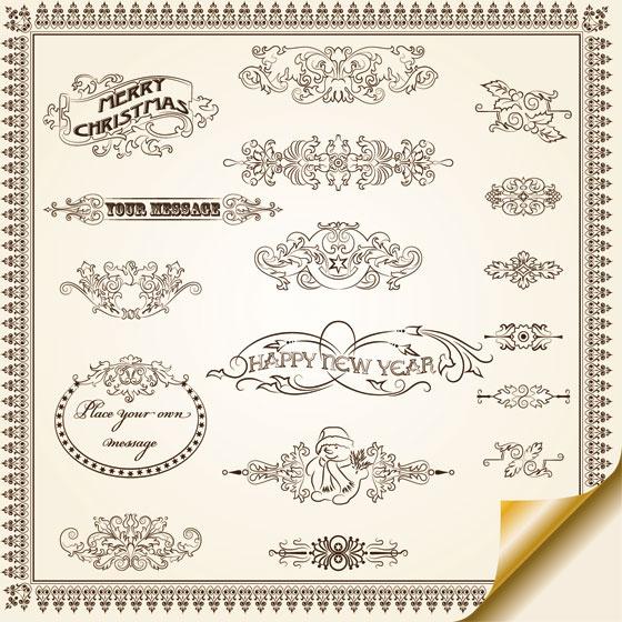 vintage decorative pattern borders elements vector