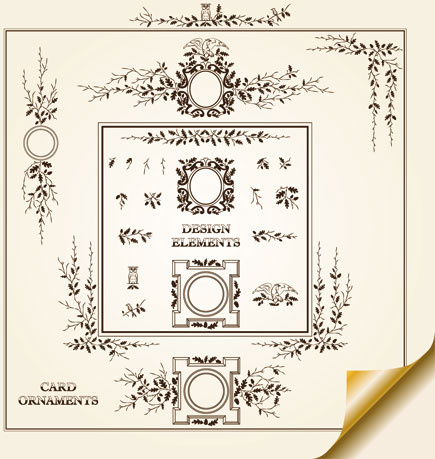 vintage decorative pattern borders elements vector